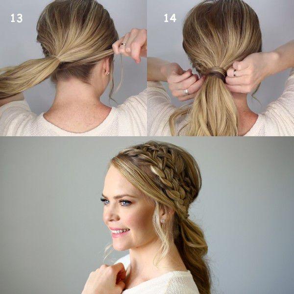 Стильная прическа с двумя косами и хвостом