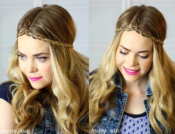 Прическа в стиле бохо с косами