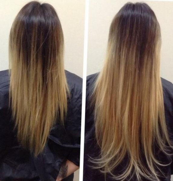 Виды наращивания волос: холодное и горячее - фото до и после