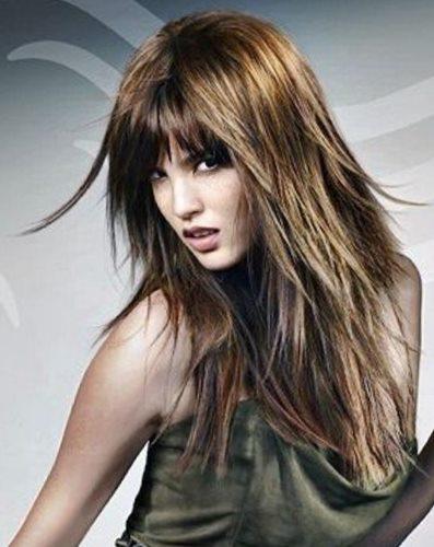 Стрижки на длинные волосы с челкой - фото модных челок
