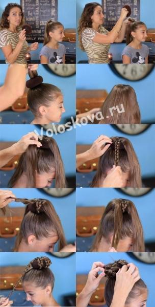 Простая прическа - пучок из кос
