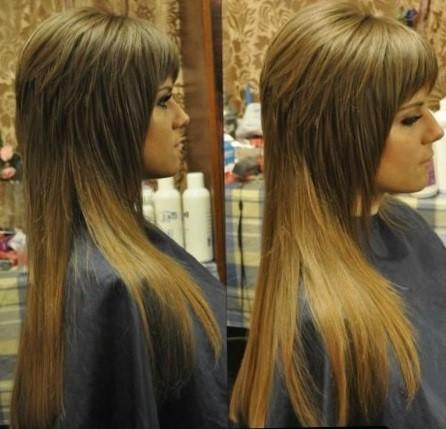 Прическа каскад на длинные волосы - фото каскадных стрижек с челкой и без