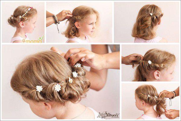 Легкая прическа для девочки на средние волосы