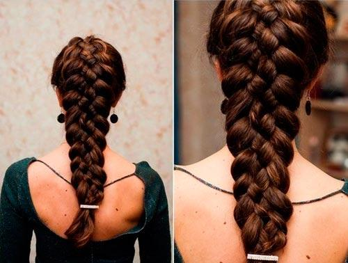 Коса из 5 прядей - схема плетения, фото, видео