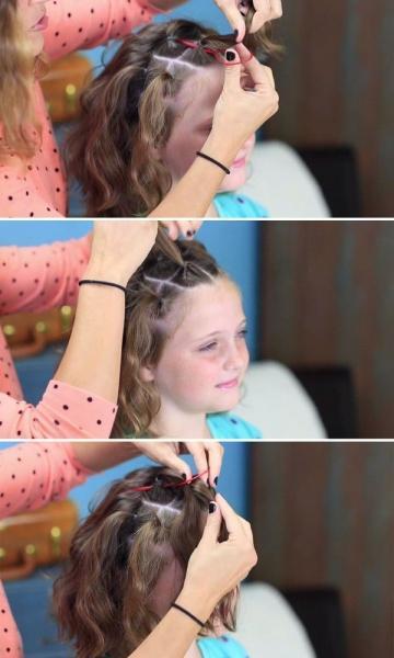 Детская прическа с хвостиками на короткие волосы