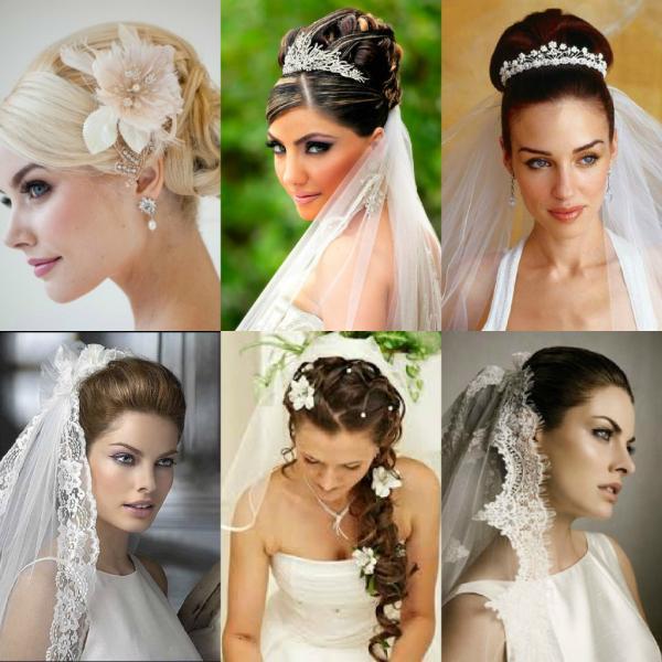 Свадебные прически на средние волосы с фатой, челкой, диадемой