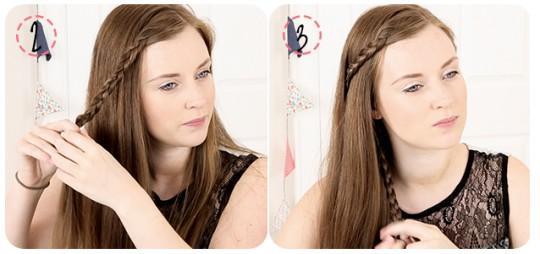 Коса вокруг волос - прическа за 5 минут