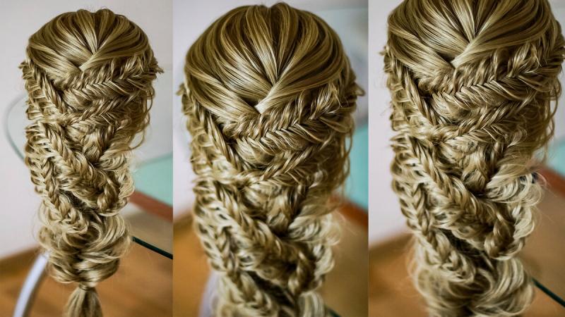 Романтичная причёска из кос рыбий хвост. Подробный видео урок.
