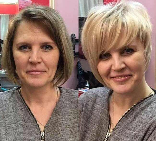 С новой стрижкой всегда моложе. Образы женщин 50+ до и после