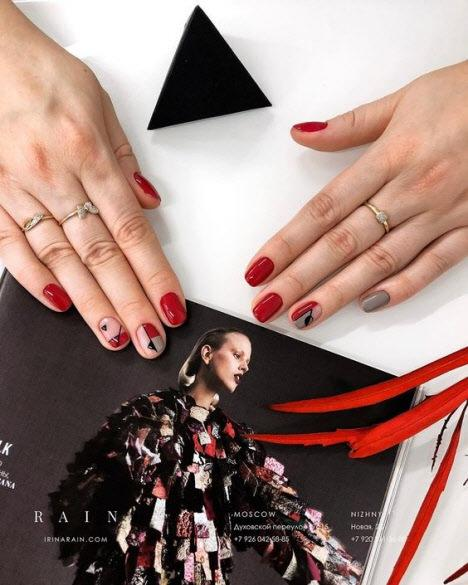 Красный маникюр 2019: фото модных и красивых вариантов