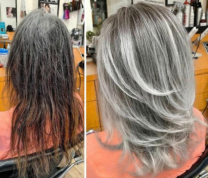 Окрашивание волос, с помощью которого можно отрастить седые волосы, легко и просто